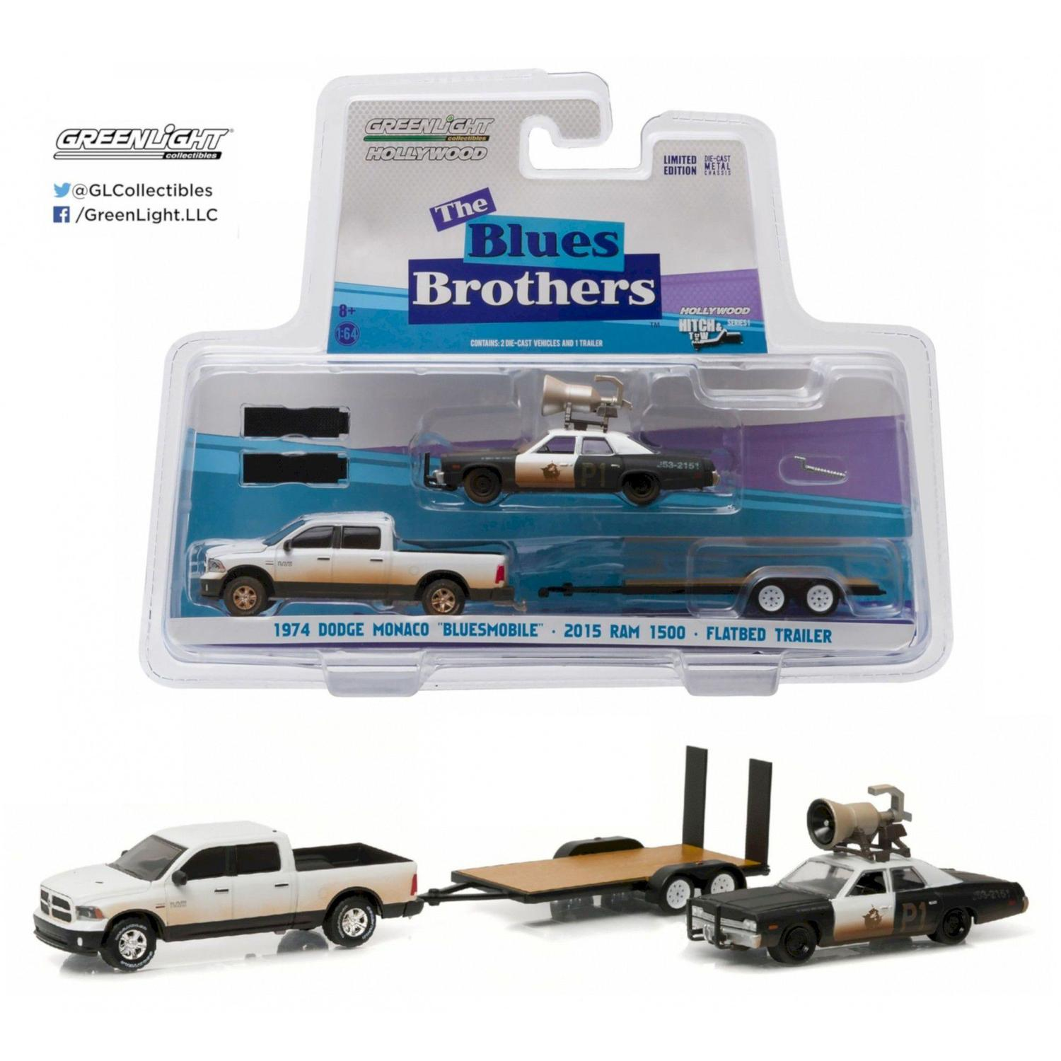 1974 Dodge Monaco Bluesmobile 2015 Ram 1500 Flatbed Trailer The Blue Brothers Hitch Tow Hollywood Serie 1 1 64 Greenlight Miniaturas De Carros Magazine Luiza