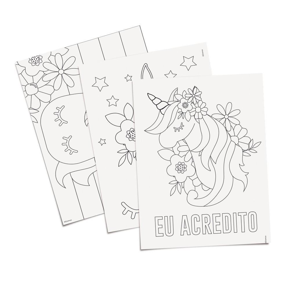 8 Folhas Para Colorir Infantil Unicornio 16x23 5cm Cromus