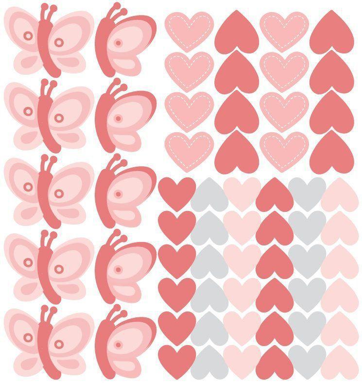12 Borboletas Com Corações Vinil Decalque De Parede