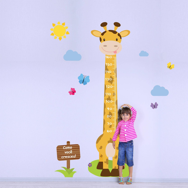 ee327fdd7e3 Adesivo de Parede Infantil Régua Girafa e Borboletas - Quartinhos R  69
