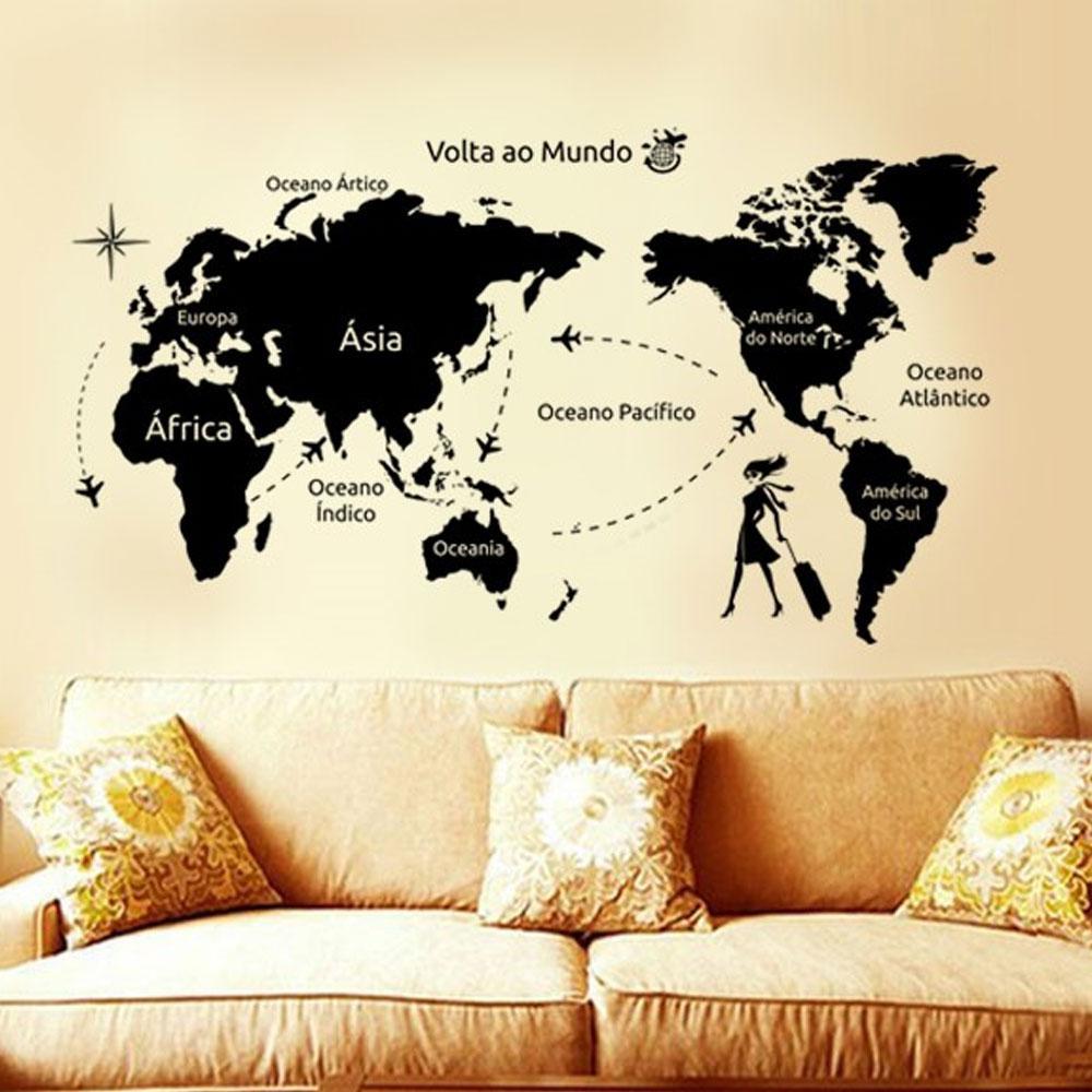Adesivo De Parede Mapa Mundi 140x80cm Viagem Volta Ao Mundo