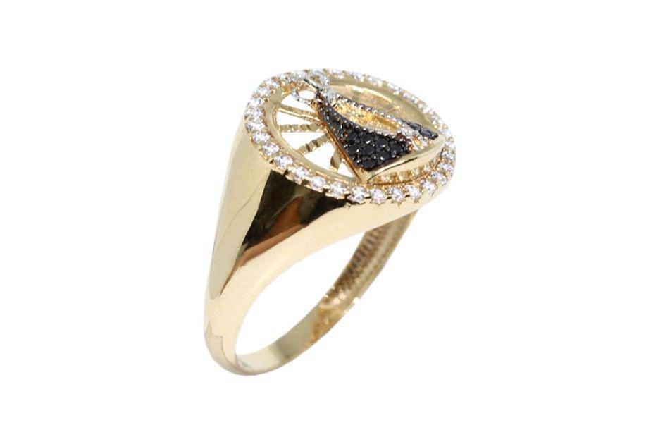 682e1a6b14ff1 Anel nossa senhora aparecida ouro 18k zircônias - Retran joias R  1.296