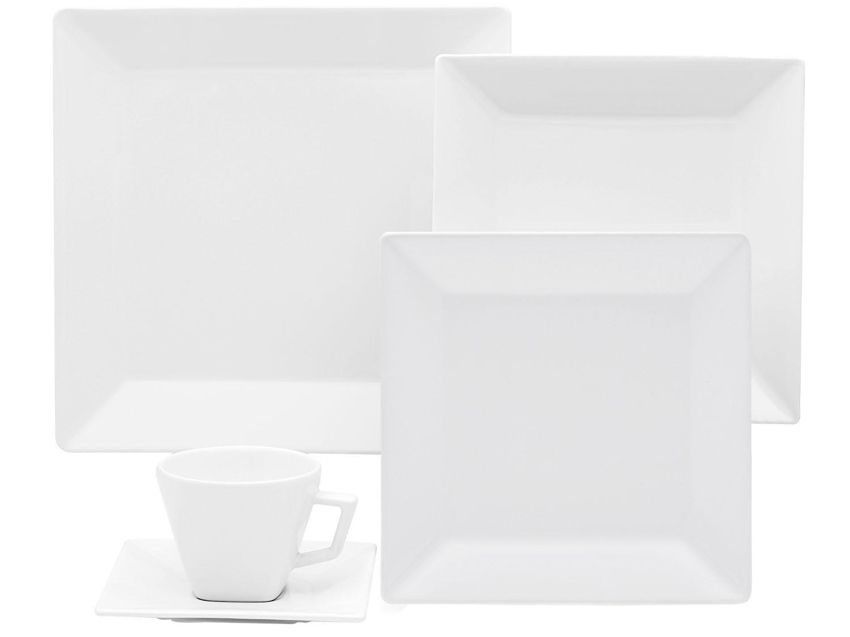 Aparelho De Jantar 42 Peças Oxford Porcelana Quadrado Branco