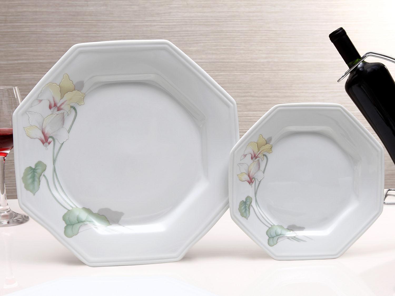 Aparelho De Jantar Chá Café 42 Peças Schmidt Porcelana Octogonal