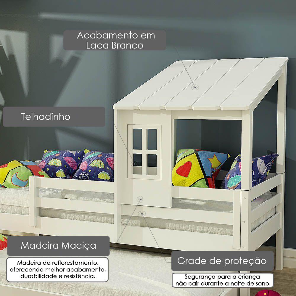 Bicama Infantil Prime Com Telhadinho Ii E Grade De Protecao