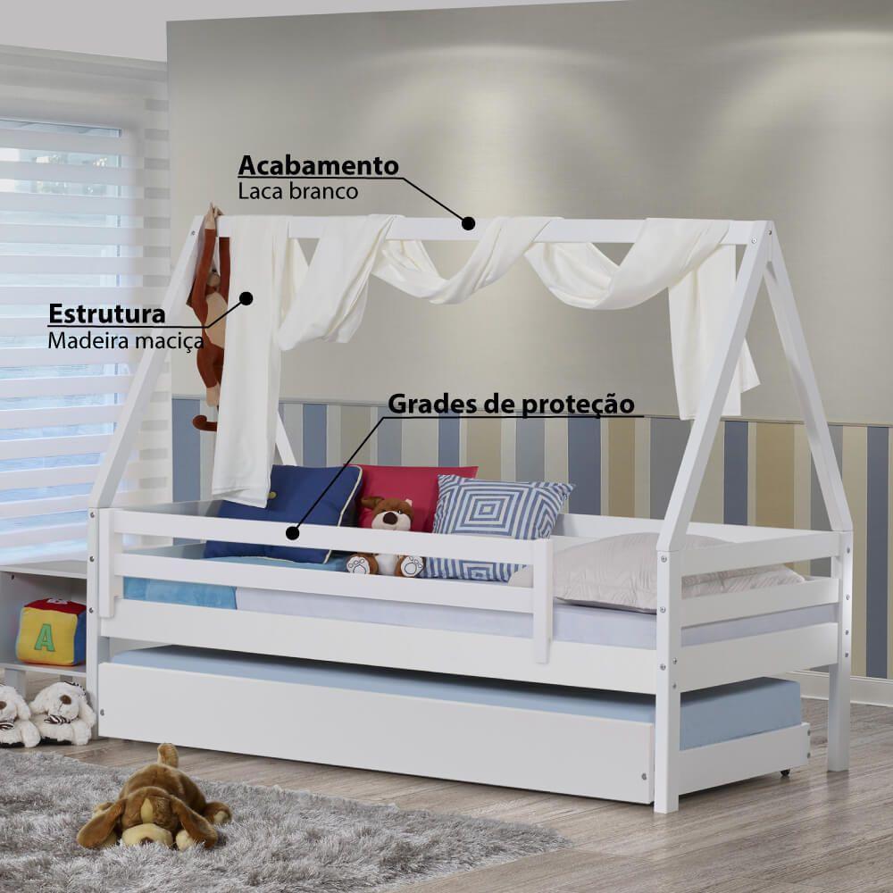 Bicama Infantil Prime Com Telhado Grade De Protecao E Xale