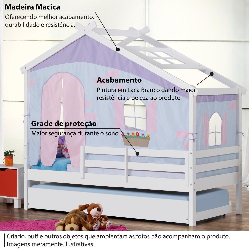 Bicama Infantil Prime Com Telhado V Tenda Tijolinho Azul E Grade