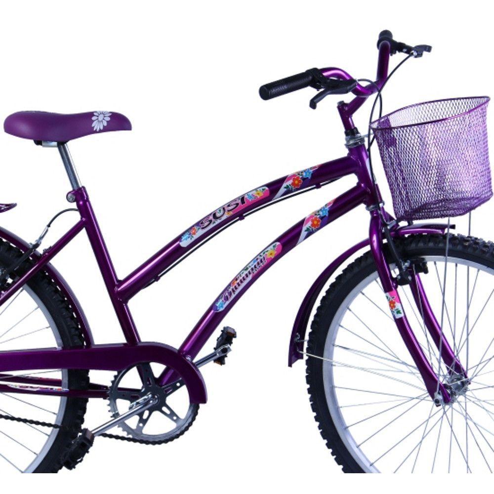 659cfa2d1 Bicicleta Feminina Aro 26 com cestinha Susi Violeta - Dalannio bike R   699