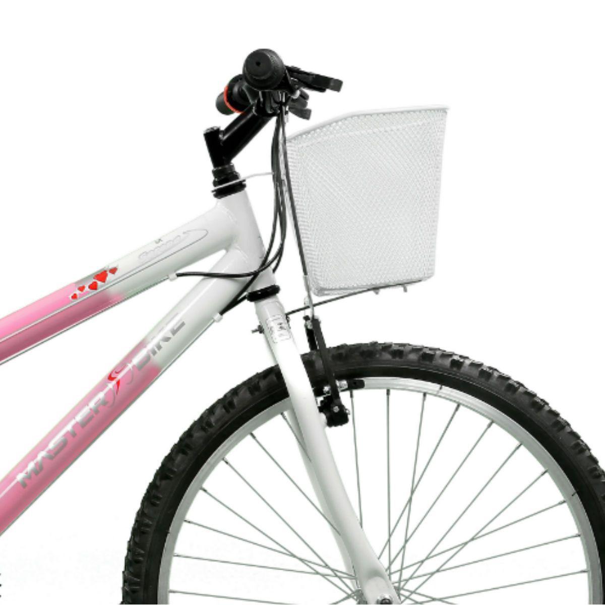 3e7a95417 Bicicleta Master Bike Aro 24 Serena Plus 21 Marchas V-Brake Rosa Branco R   523