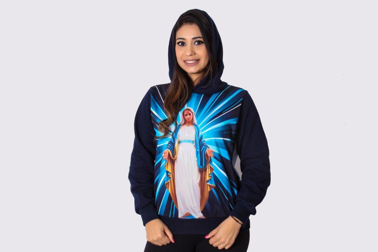 0ed5e3d7eb Blusa de Frio Feminina Nossa Senhora das Graças Estampado Flanelado Touca -  Templo vivo R  119