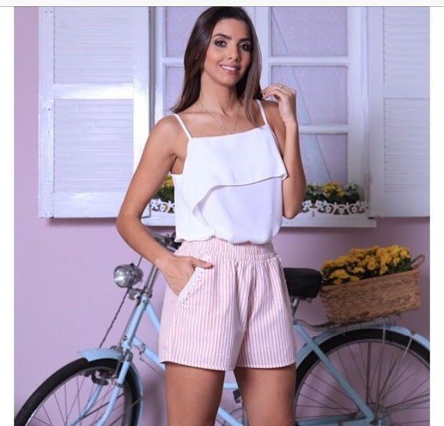 7a6580443 Blusa Regata Básica de Alcinha Babados no Decote - Miss mary R  189