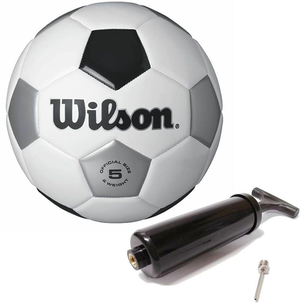 Bola de Futebol de Campo Tradicional N.5 Branca e Preta + Bomba de Ar Wilson  R  67 d0864d899b061