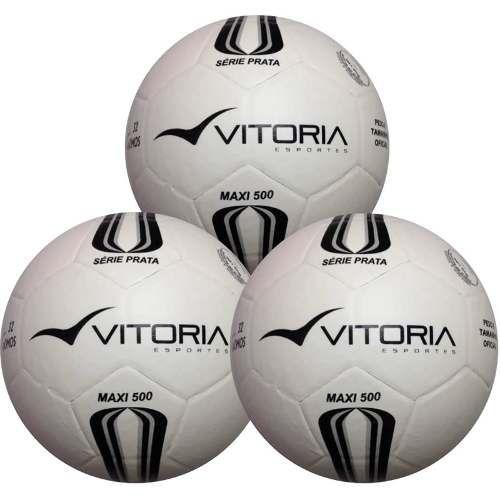 6f5542a3cd8f3 Bola Futsal Vitória Oficial Prata Max 500 - 3 Unidades - Vitoria esportes  R  149