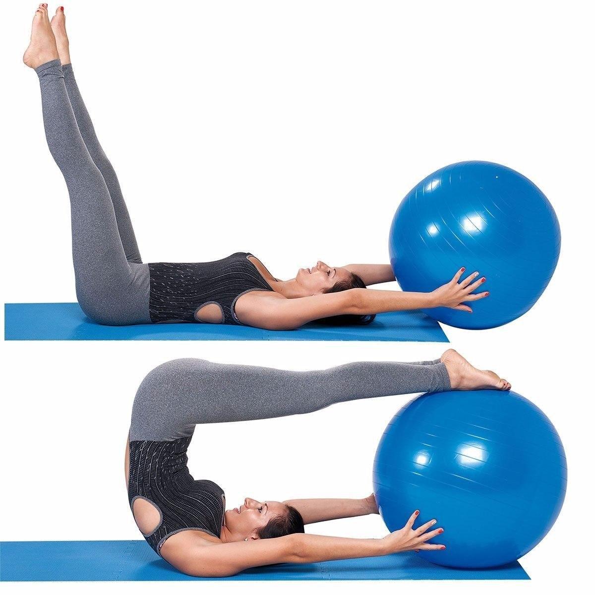 Bola Suiça Liveup Pilates Yoga Ginástica 65 cm e DVD - Kl master fitness R   79 d8990dfd3fdf