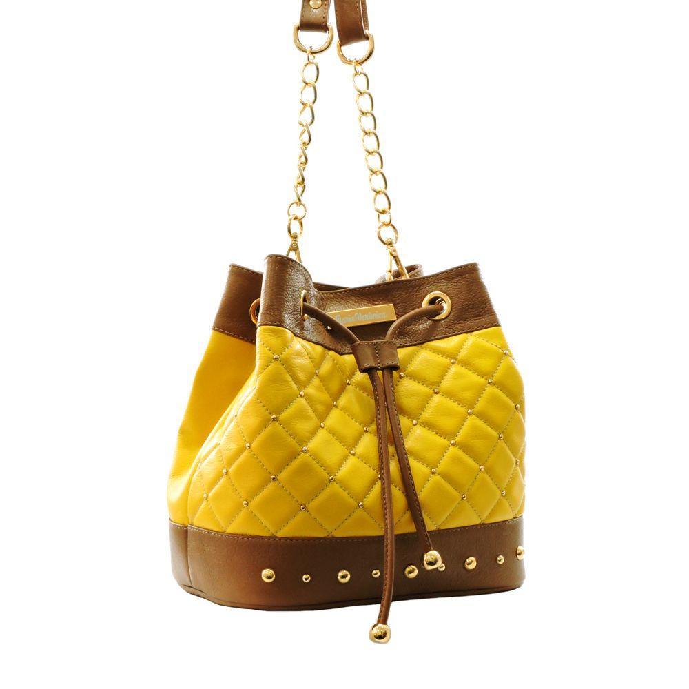 8d7ecb98d Bolsa Feminina Modelo Saco Alça Corrente Couro Legítimo Amarelo/Marrom - Maria  verônica R$ 366,20 à vista. Adicionar à sacola