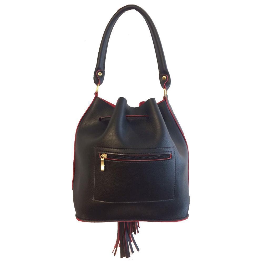 e91d6b38f Bolsa feminina saco transversal de ombro preta e vermelha Preta e Vermelha  - Meu tio que fez R$ 75,90 à vista. Adicionar à sacola