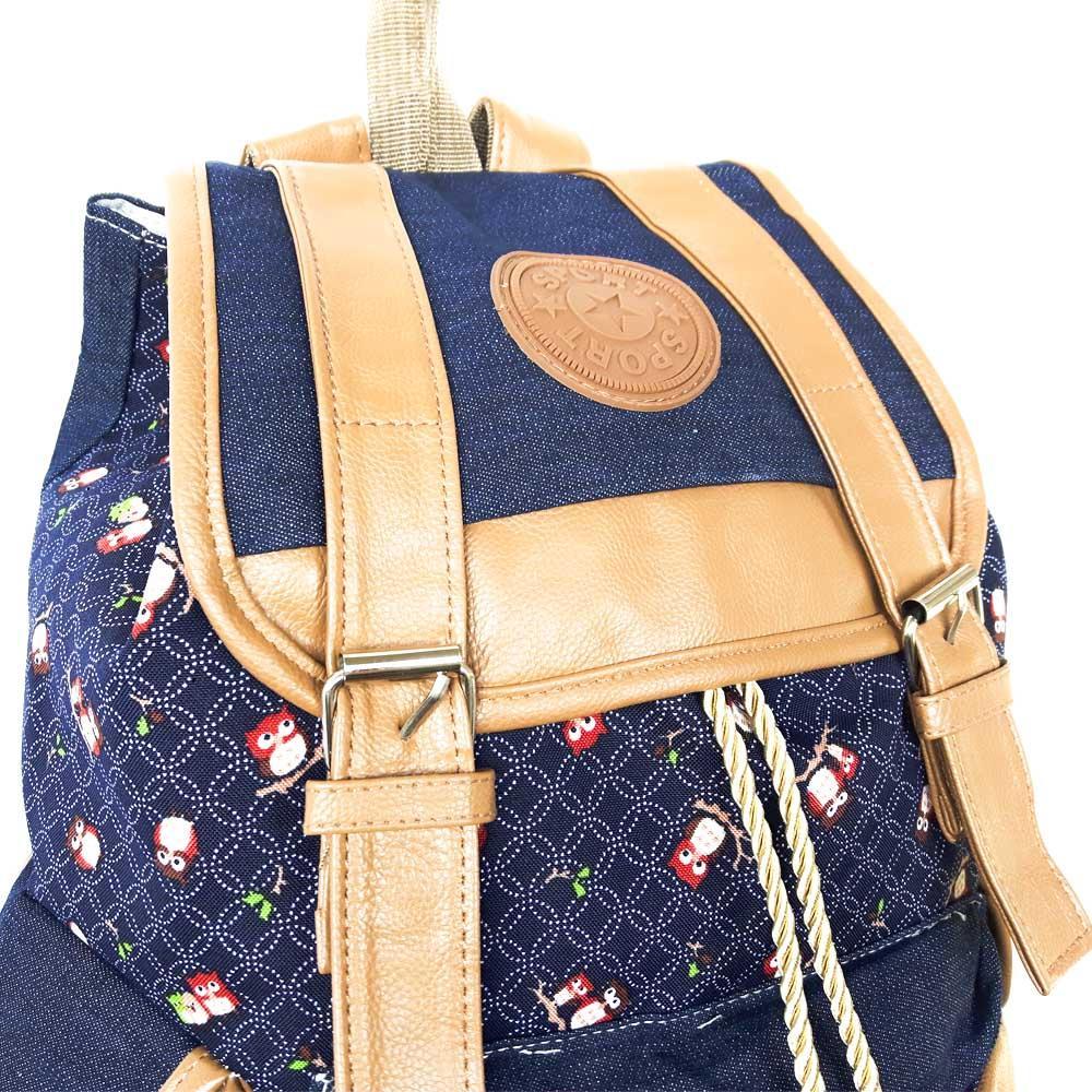 Bolsa Mochila de Lona Azul Com Estampa de Coruja - Sport - Mochilas ... 2f2100c4284