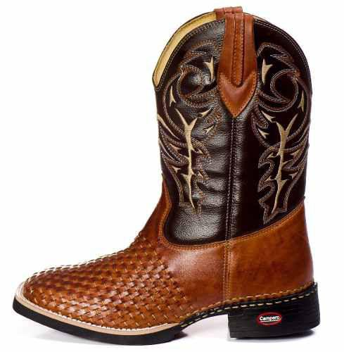 241e505b2f Bota Country Masculina Cano Longo Texana Rodeio Couro Tricê - Campero R   199