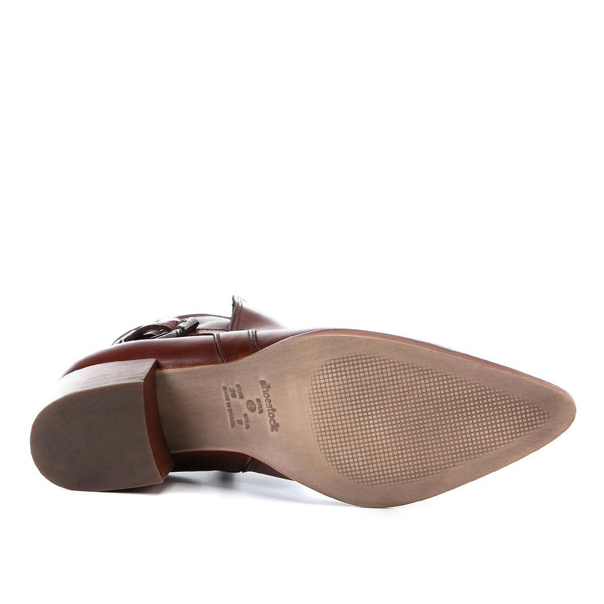 609115339 Bota Couro Cano Curto Shoestock Bico Fino Fivela Feminina R$ 299,90 à  vista. Adicionar à sacola