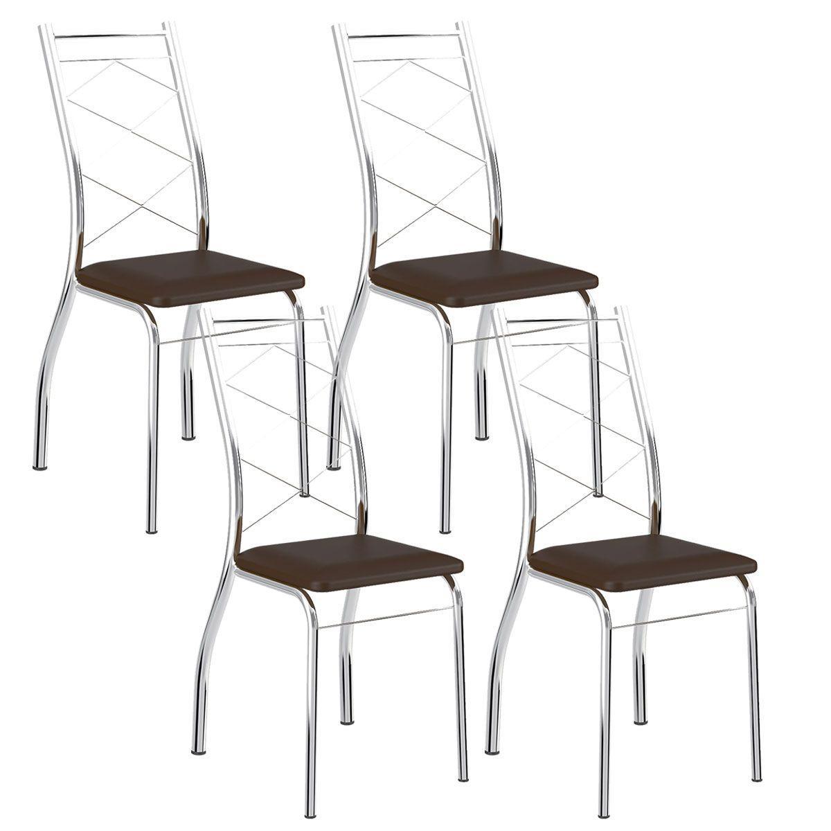 7b7d1af258 Cadeira 1710 Cromada 04 Unidades Cacau Carraro - Cadeiras para Sala ...