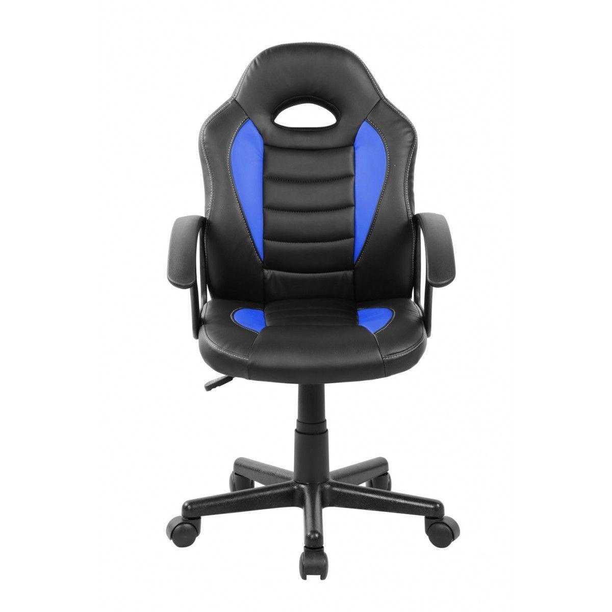 5952e7c796 Cadeira Gamer Kids em Couro PU Preta com Azul Pelegrin PEL-9353 R  329