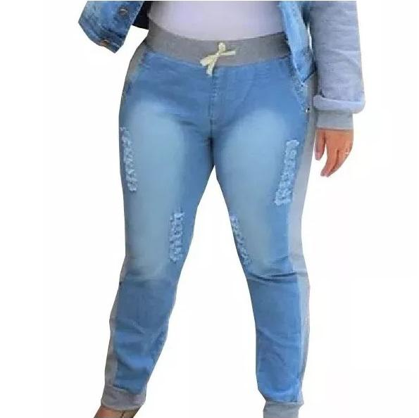 c284b7df59cc Calça Jeans Com Moletom Plus Size Moda Feminina - Tec online brasil