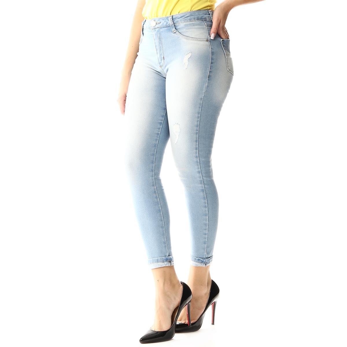 9e7a97191 Calça Jeans Feminina Cropped Barra Dobrada - Sawary R$ 89,90 à vista.  Adicionar à sacola
