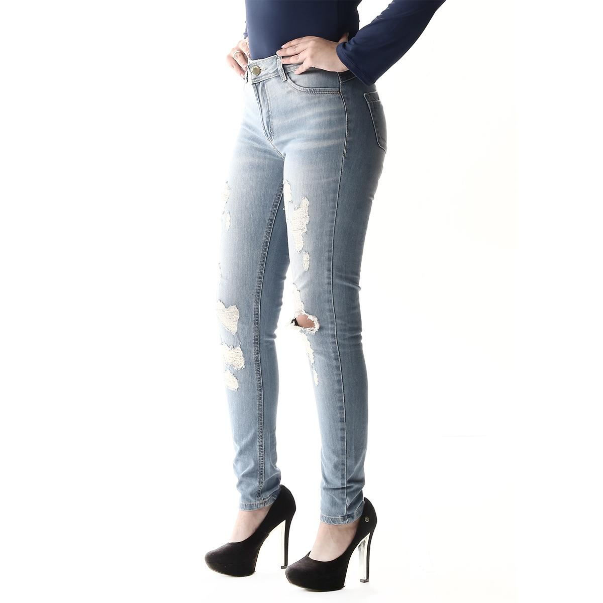 cc30afcc5 Calça Jeans Feminina Destroyed Media UP - Sawary R$ 89,90 à vista.  Adicionar à sacola