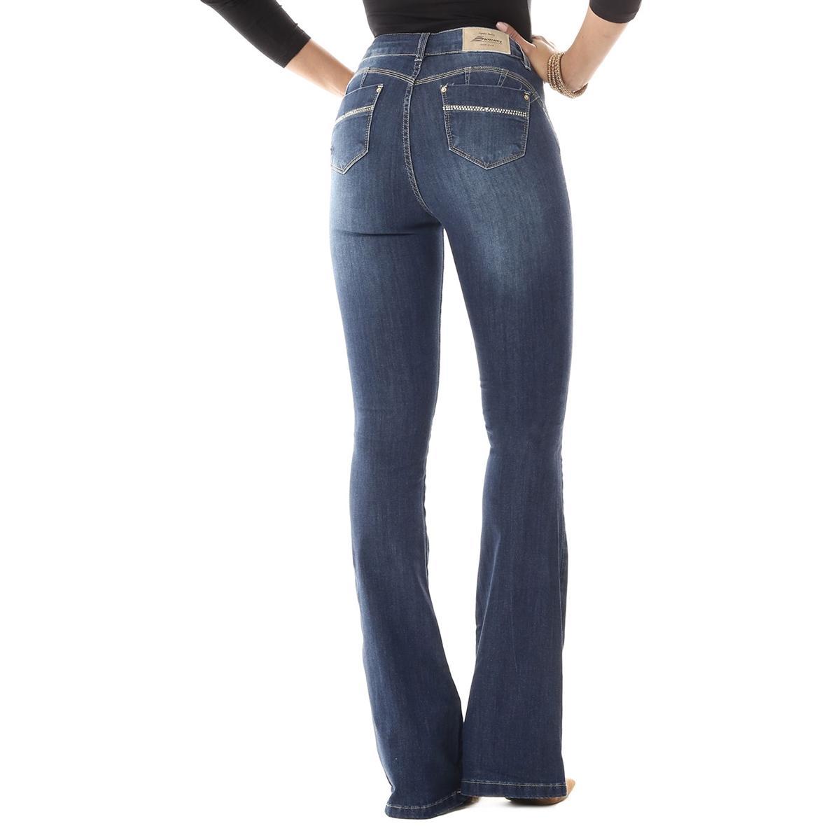 d43d7968f Calça Jeans Feminina Flare Com Bojo e Aplicação - Sawary R$ 69,90 à vista.  Adicionar à sacola
