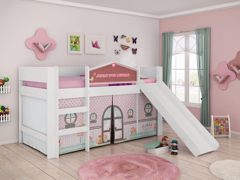 Cama infantil pura magia doce casinha com escorregador for Cama infantil