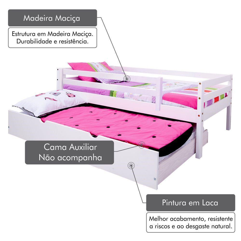 e45a5a7e31 Cama Solteiro Infantil c  Grade de Proteção Madeira Maciça - Meninas -  Casatema R  739