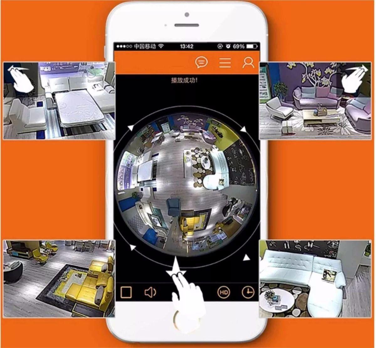 Câmera Segurança IP Lâmpada 3D 360º Wifi Panorâmica V380 - VRCam
