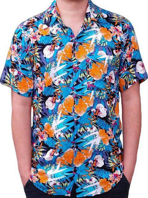 Camisa Floral Masculina Havaiana Azul Estampada Florida Carnaval Viscose Phiphi Camisaria Camisas Masculinas Magazine Luiza