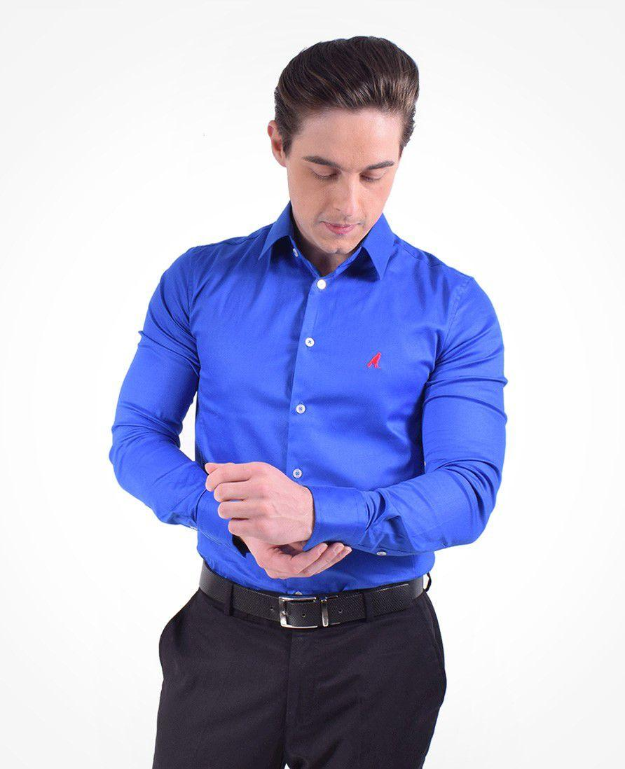 d86fc049a7 Camisa Social Azul Masculina Super Slim - Hórus oficial - Vestuário ...