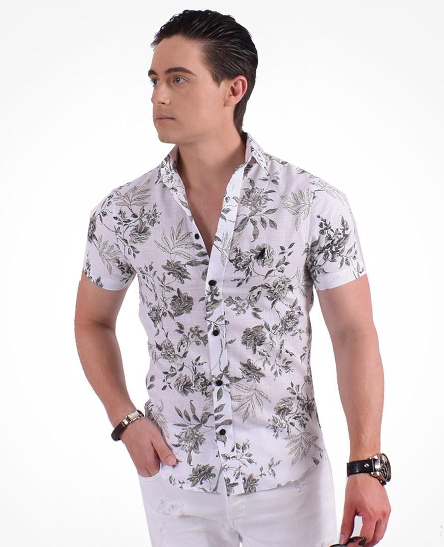 c0850948f0 Camisa Social Manga Curta Masculina Slim Floral - Hórus oficial R  169