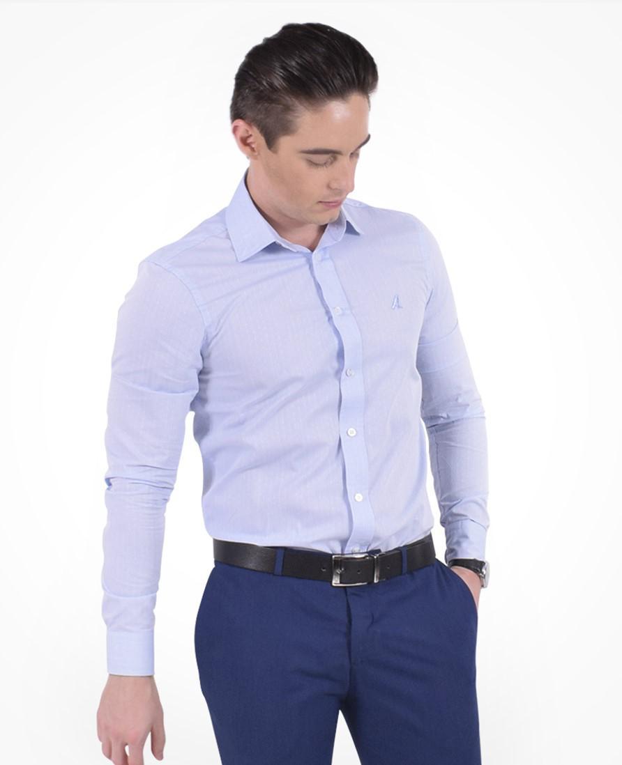 21edd5326d Camisa Social Masculina Slim Azul - Hórus oficial Produto não disponível