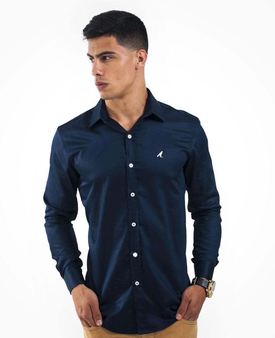 2a99f7806c Camisa Social Masculina Slim Azul Marinho - Levok R$ 159,90 à vista.  Adicionar à sacola