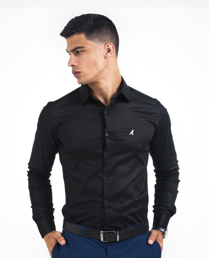 b0dfbb491781 Camisa Social Preta Masculina Super Slim - Hórus oficial R$ 189,90 à vista.  Adicionar à sacola