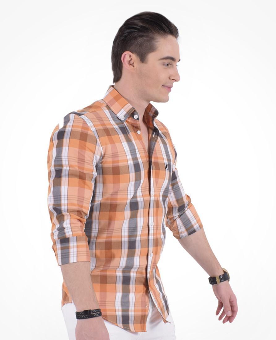 8d3456473b Camisa Xadrez Masculina Slim Social Estampada Laranja - Hórus oficial  Produto não disponível