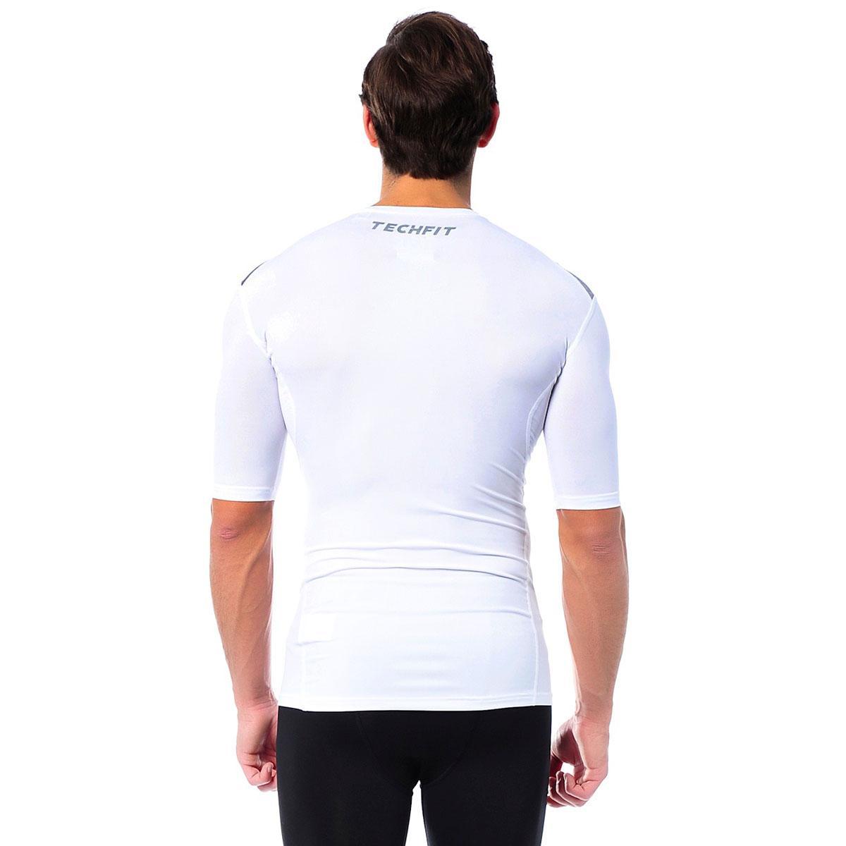 Camiseta de Compressão Masculina Adidas TECHFIT BASE - Adidas -  Branco Cinza - Adidas R  59 b2401e23916e0
