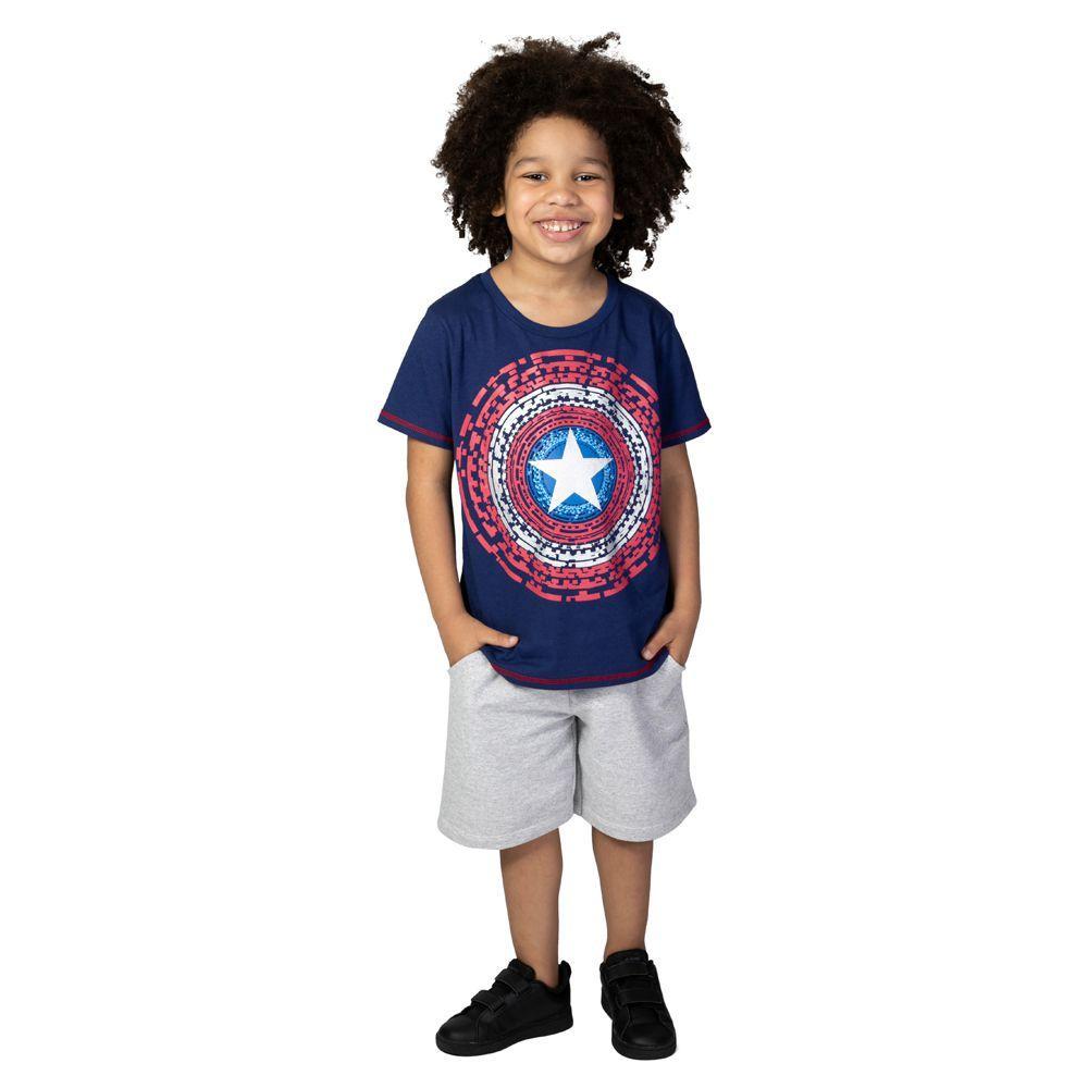 17abf6834d2a6 Camiseta Manga Curta - Meia Malha - Azul Marinho - Marvel - Capitão América  - 8 - Disney Produto não disponível