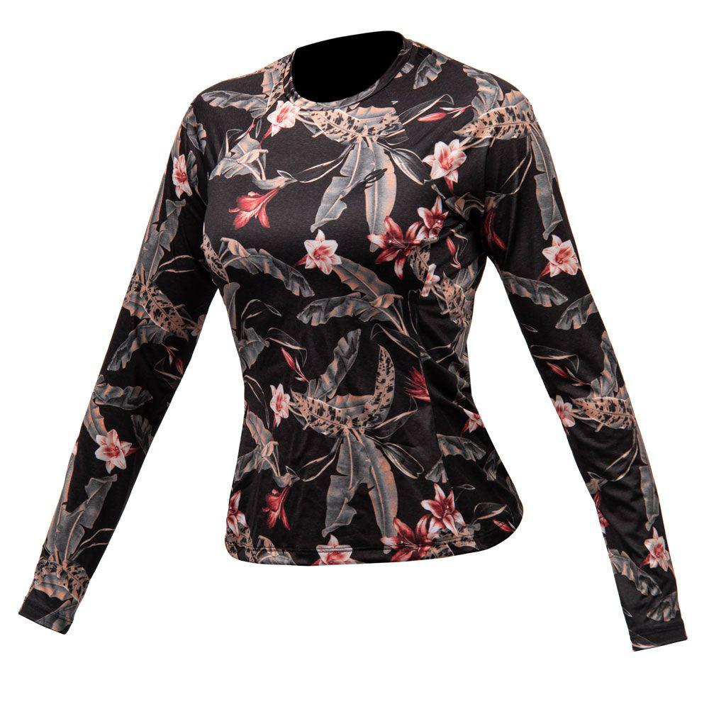 Camiseta manga longa feminino dry action 2b uv mormaii preto R  89 841fd4642c5