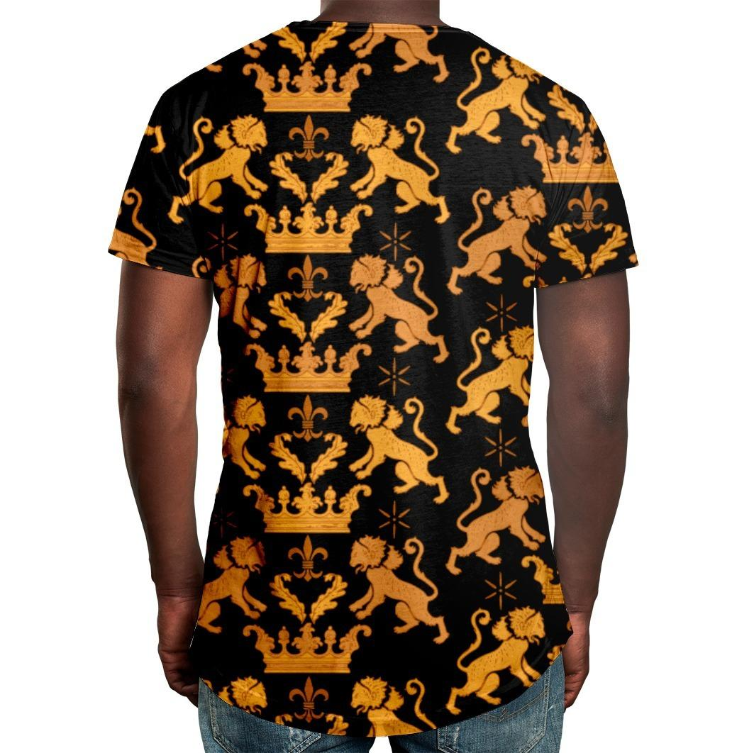 Camiseta Masculina Longline Swag Leão Real Estampa Digital - Over fame R   59 4d65a23a94293