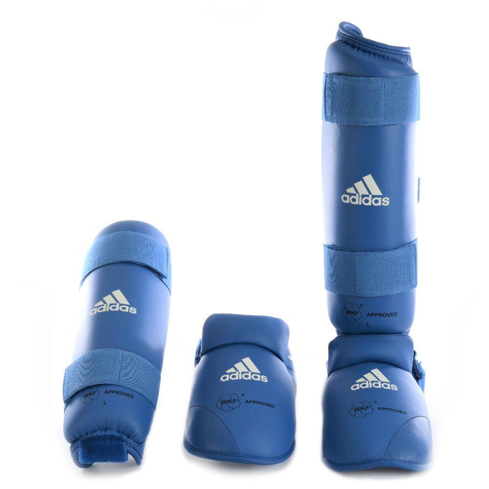 Caneleira Karatê Adidas Com Protetor de Pé WKF Azul - Caneleira ... 57e33c0231999