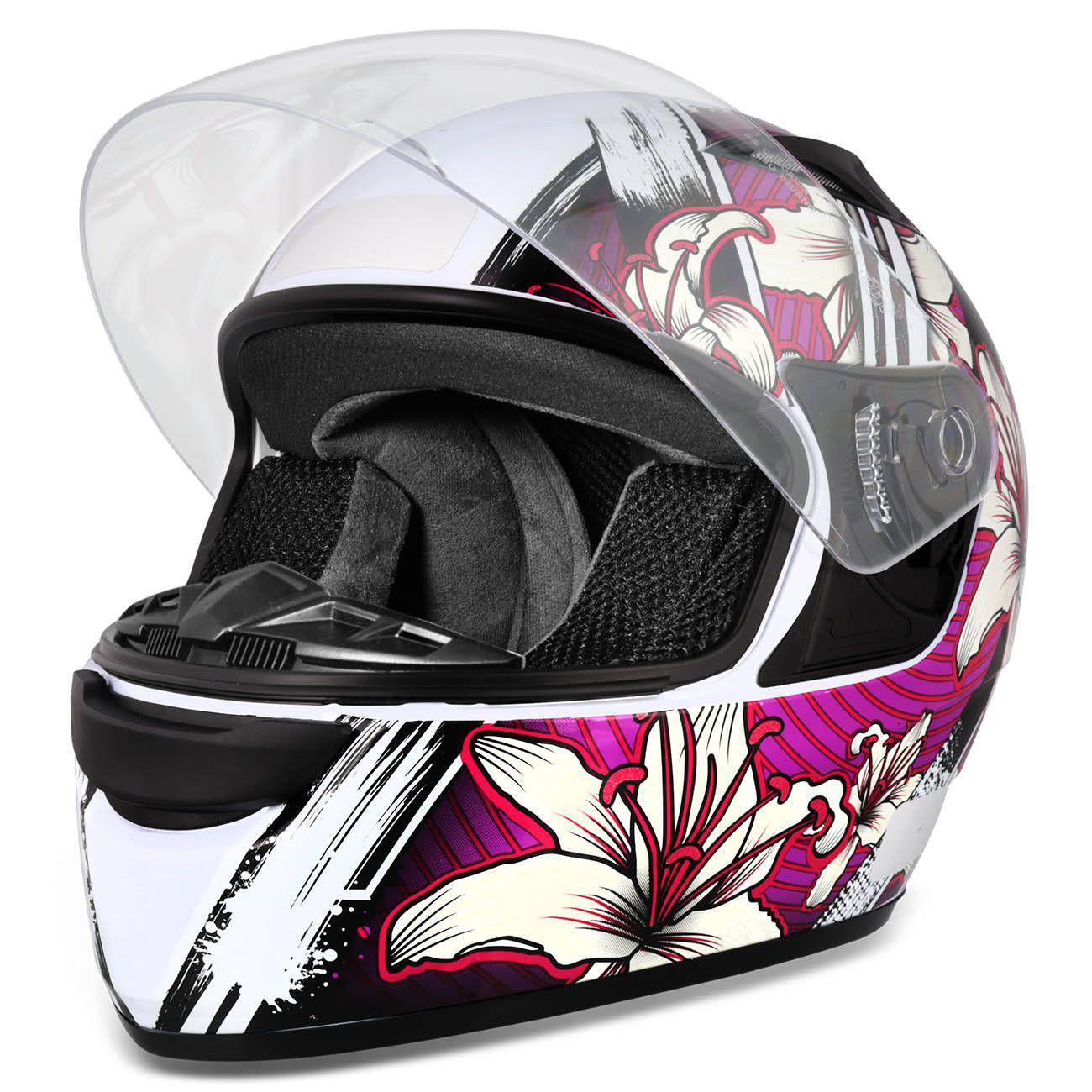 Capacete Fechado EBF E0X Flowers Feminino Branco e Lilás Moto - Ebf  capacetes R  179,90 à vista. Adicionar à sacola 3d9ddf3b6f
