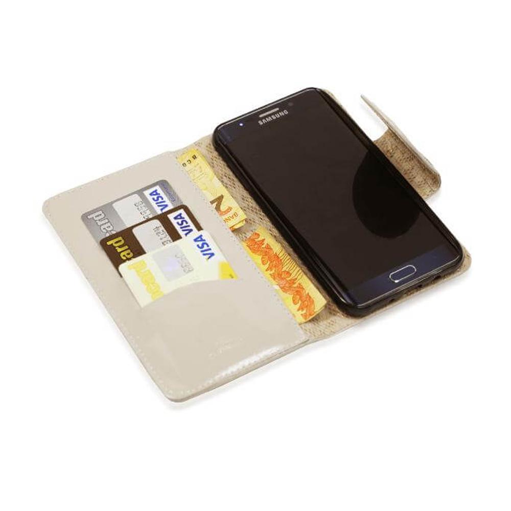 Capinha Carteira De Couro Nava Verniz Marfim Para Samsung Galaxy J5 Prime G570 Cellway R 6990 Vista Adicionar Sacola