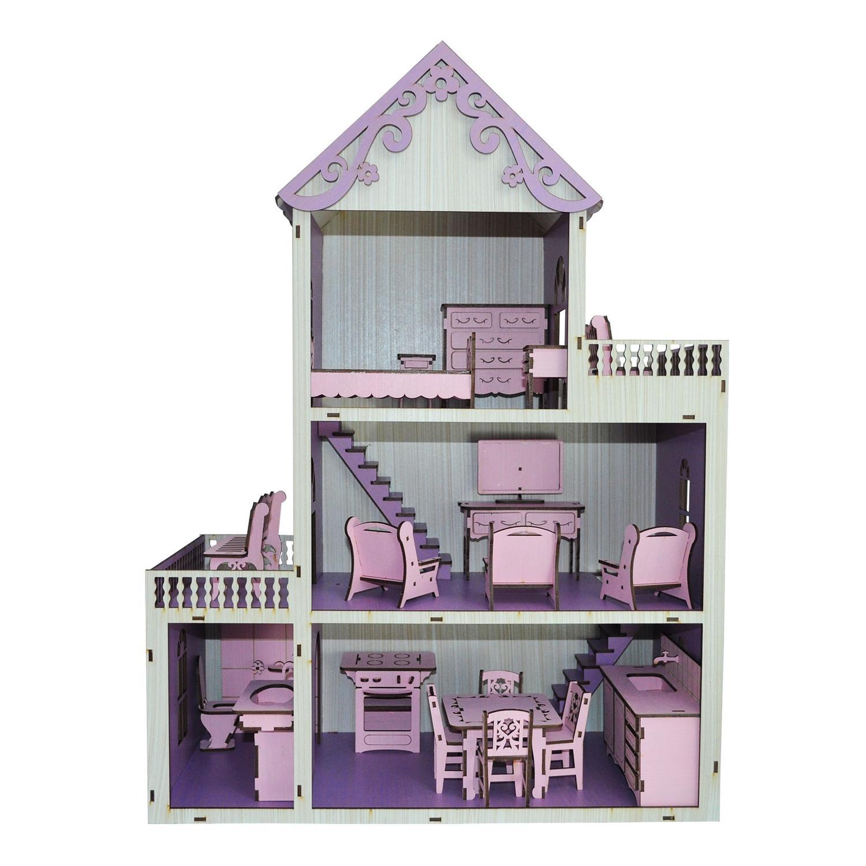 0d87a5319 Casa Para Boneca Polly Pintada Violeta e Branco Com 21 Móveis Rosa Mdf  Madeira - Atacadão do artesanato mdf R  197