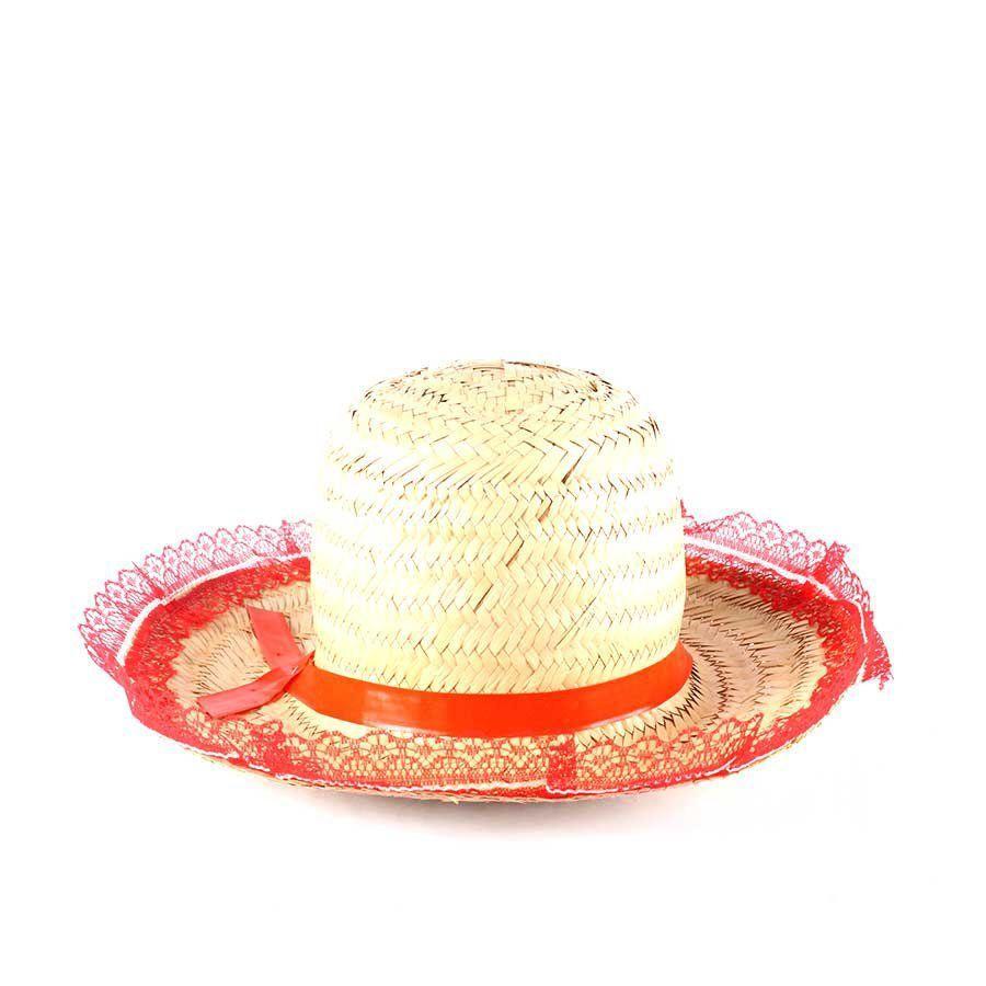 2afff69119b6d Chapéu de Palha com Renda Festa Junina Feminino - Sortidos - Aluá festas R   6