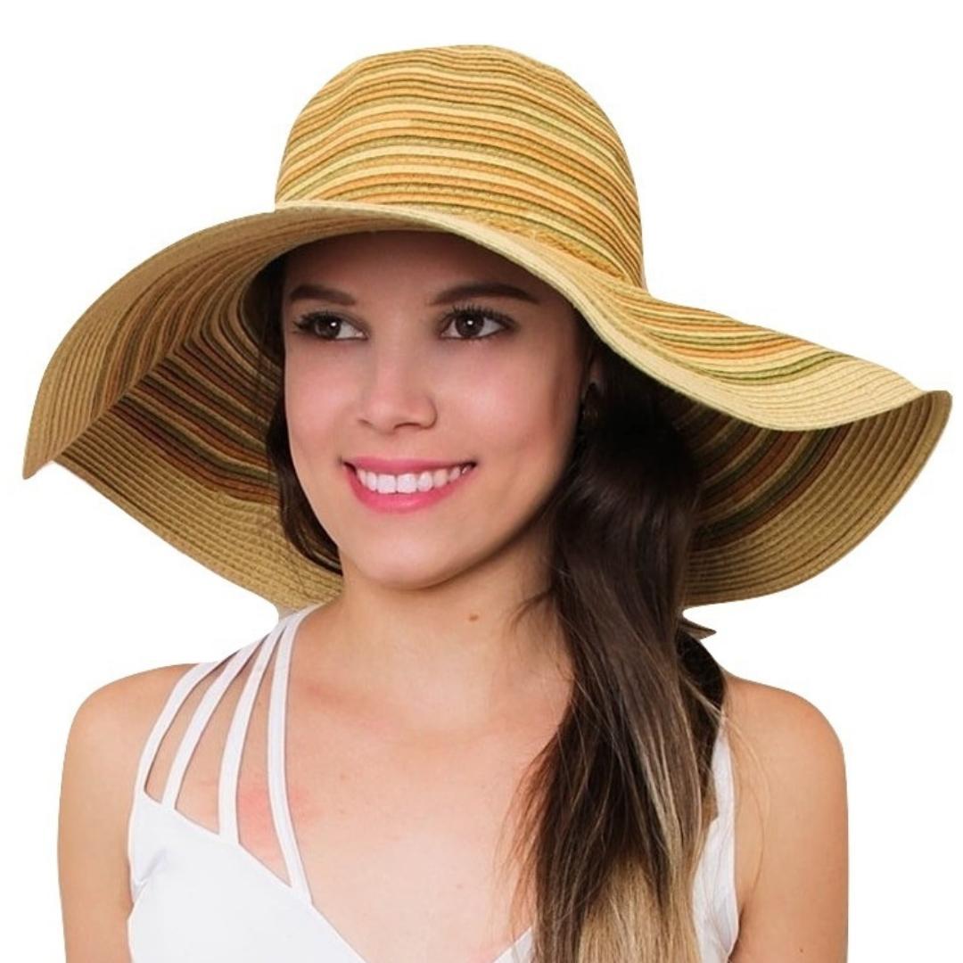 Chapéu de Praia Feminino Bege Com Listras - Minha nova biju R  78 35a9f0067cb