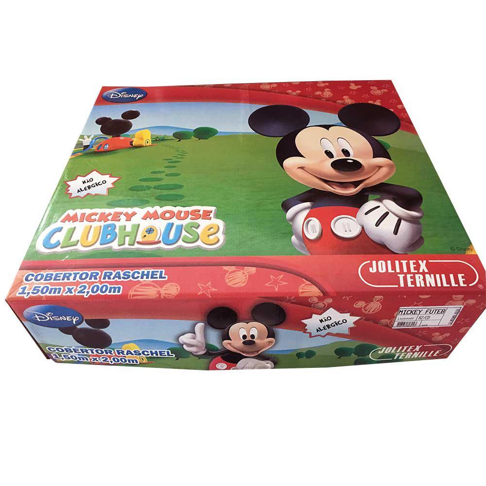 9d58da7542 Cobertor Jolitex Solteiro Raschel Macio Disney Mickey Futebol R  189